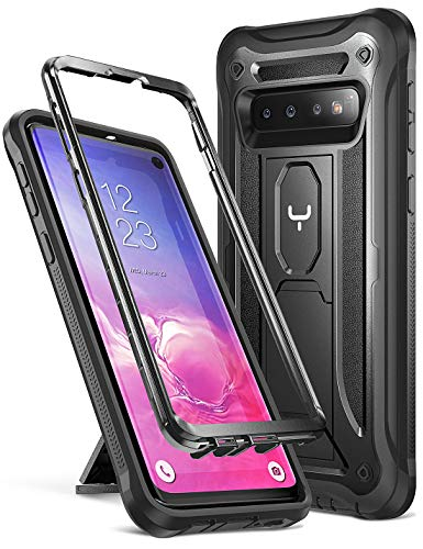YOUMAKER Kickstand Case for Galaxy S10, Heavy Duty Protection Shockproof Full Body Slim Fit Without Built-in Screen Protector Case Cover for Samsung Galaxy S10 6.1 inch (2019 Release) - Black