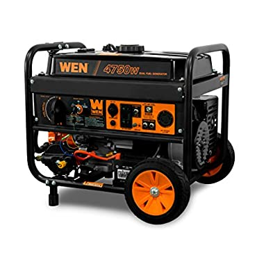 WEN DF475T 4750-Watt 120V/240V Dual Fuel Portable Generator with Wheel Kit and Electric Start CARB Compliant