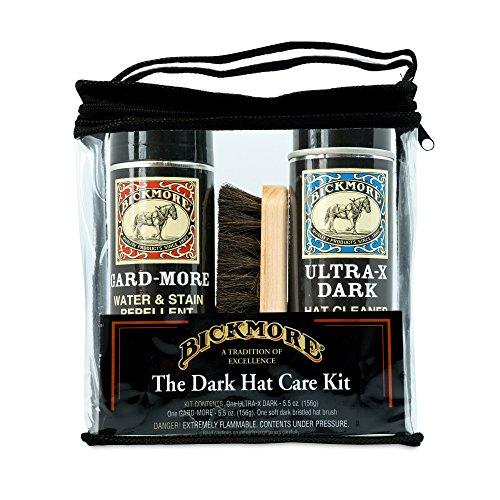 Bickmore Ultra-X Powdered Dark Hat Cleaner Kit - Remove Dirt, Dust, Fingerprints & Sweat Stains - Great for Fur - Felt Cowboy Hats, Baseball Hats, Fedoras, Sun Hats & More - Sweat Felt