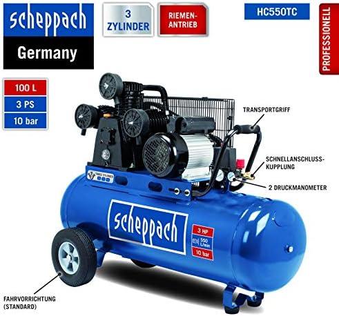 Scheppach HC550TC - Compresor de aire comprimido (10 bar, 100 l, 2200 W): Amazon.es: Bricolaje y herramientas