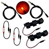 (US) 2 kits fire effects ember orange flame simulation LED lights 1.5 meter 59 inch cable length with flicker effects control for props, theatrical scenery, faux flame, and glowing coal baskets