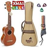 Hola! Music HM-121MG+ Deluxe Mahogany Soprano Ukulele Bundle with Aquila Strings, Padded Gig Bag, Strap and Picks - Natural