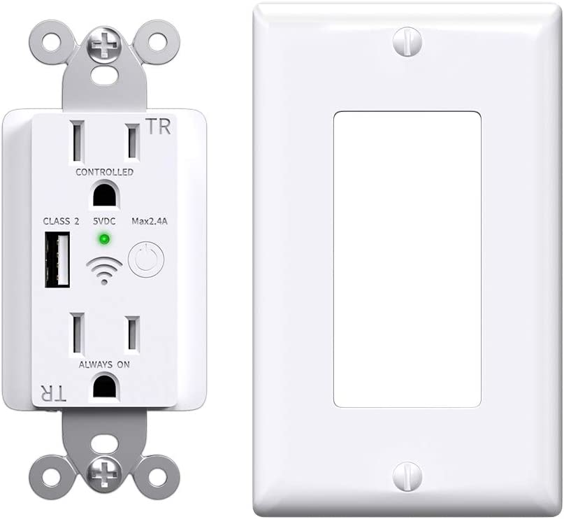 Smart Outlet, Wifi Plugs with One USB Charger Outlet, Enabled Smart Plug in-Wall Tamper Resistant Smart Outlets that Work with Google & Alexa Accessories for Home, ETL/FCC Listed, 2.4GHz, White