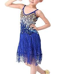 MFrannie Girls Latin Glitter Sequin Flowing Tassel Dancing Tank Dress Royal Blue 5-7T