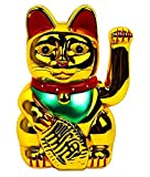 "Monkey King Gold Feng Shui Lucky Cats Lucky Beckoning Waving Wealth Cat Maneki Neko 6"" Tall"
