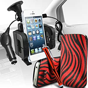 Nokia Lumia 700 Protección Premium de Zebra PU tracción Piel Tab Slip Cord En cubierta de bolsa Pocket Skin rápida Con Large Matching Stylus Pen, Micro 12v cargador de coche USB y soporte universal de la succión del parabrisas del coche Vent Cuna Rojo y Negro por Spyrox
