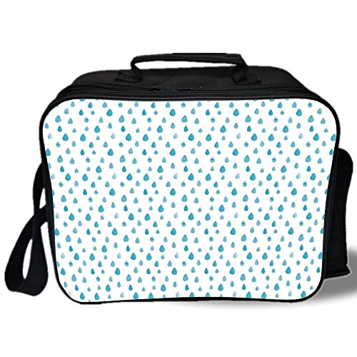Insulated Lunch Bag,Farmhouse Decor,Watercolor Drip Drops Pattern in Various Sizes Terrain Humidity Zone Sign,Blue White,for Work/School/Picnic, Grey