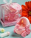 Adorable Baby Pink Carriage Candles in Clear Box with Pink Bow, Health Care Stuffs