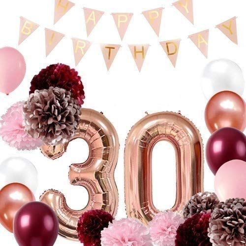 (Burgundy and Rose Gold 30th Birthday Party - 30th Birthday Balloons Rose Gold, 30th Birthday Banner, Tissue Pom Poms, 30th Birthday for Women, Dirty 30 Birthday)