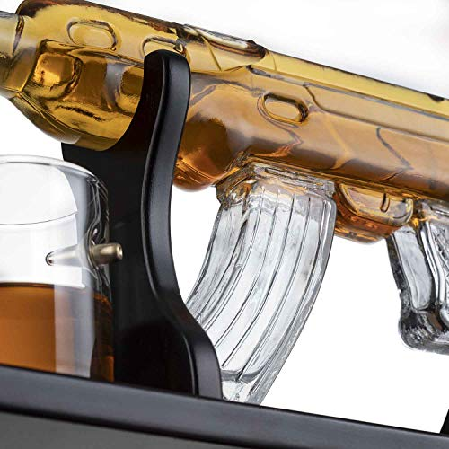 Gun Large Decanter Set Bullet Glasses - Elegant Rifle Gun Whiskey Decanter 22.5'' 1000ml With 4 Bullet Whiskey Glasses and Mohogany Wooden Base By The Wine Savant by The Wine Savant (Image #2)