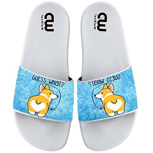 Cartoon Guess What ? Corgi Dog Butt Summer Slide Slippers For Boy Girl Men Women Indoor Sandals Shoes