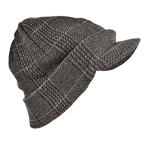 Radar Knit Hat (Landana Headscarves Plaid Knit Radar Hat With Cuff - Grey)