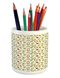 Lunarable Gardening Pencil Pen Holder, Seasonal Symbols in The Backyard of Twin Dwarfs Fences Spotted and Plant Pots, Printed Ceramic Pencil Pen Holder for Desk Office Accessory, Multicolor