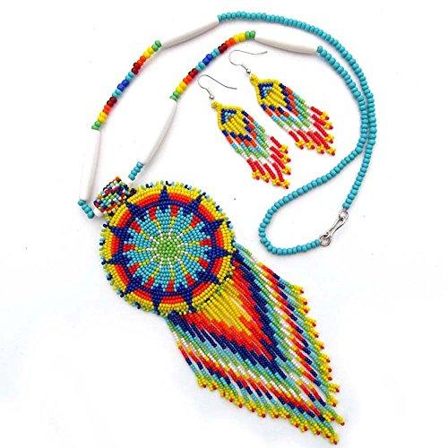 La Vivia Handmade Holiday Shopping Yellow Mix Seed Beaded Necklace Earrings Star S-53-SB-9 24 X 2.6 Multicolor
