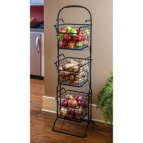 3-Tier Handcrafted Wrought Iron Basket Stand