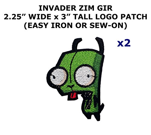 Invader Zim Cosplay Costumes (2 PCS Gir Invader Zim Cartoon Theme DIY Iron / Sew-on Decorative Applique Patches)
