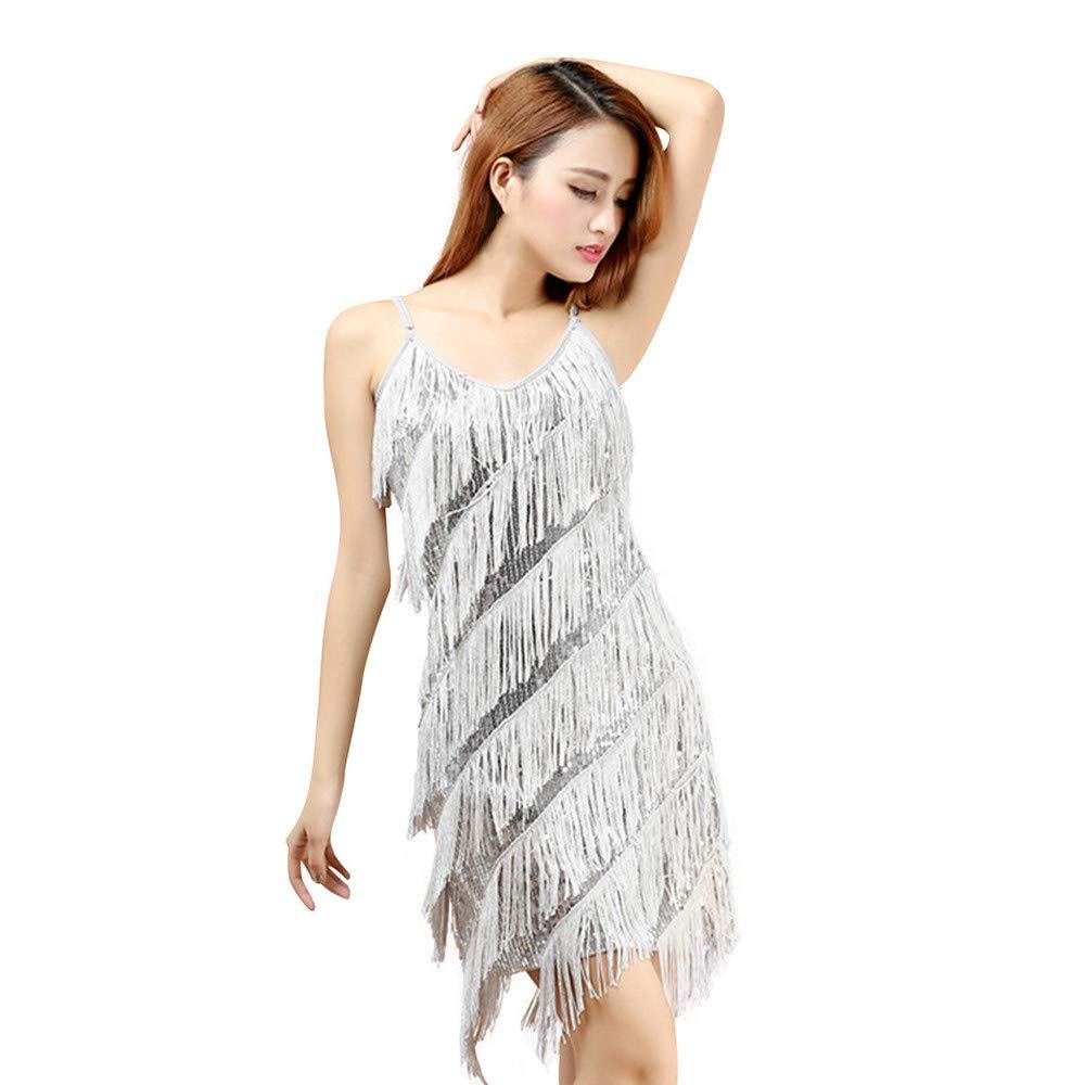 4c149db1f1094 Amazon.com: JPOQW Latin Dance Skirt Costume Sequins Tassel Dress Latin  Dance Stage Performance Clothing: Clothing
