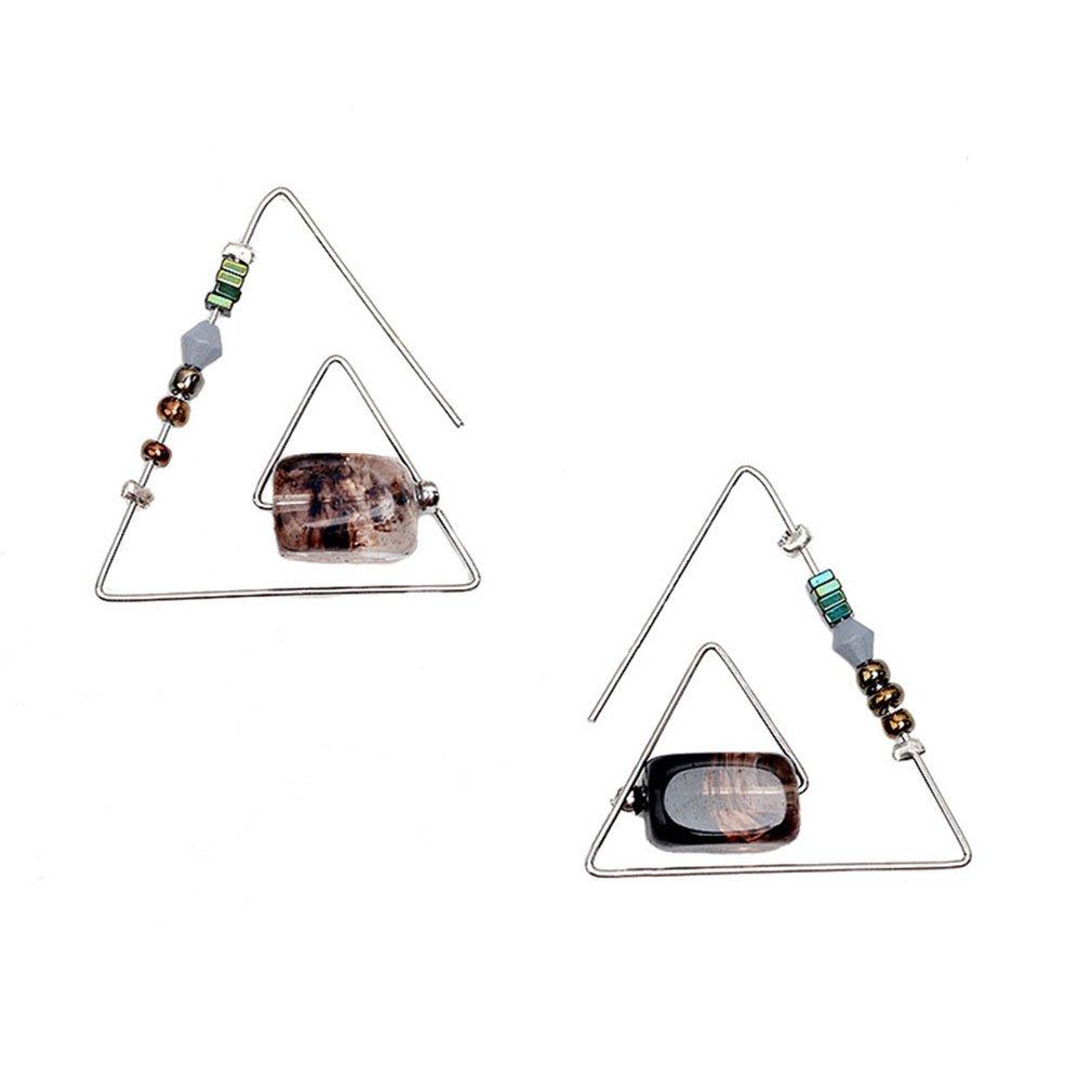 Synthetic Smoky Quartz Injoy Jewelry Handmade Unique Geometric Triangle Dangle Earring Gemstone Drop Earrings Eardrop for Women Girls