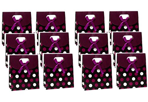 - Gift Boxes Bags Bulk Purple Polka Dot 6 x 5 x 2-1/2 inch Set of 12 (12 Purple)