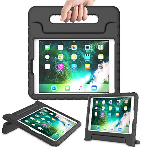 AVAWO Kids Case for New iPad 9.7 2017 & 2018 Release - Light Weight Shock Proof Convertible Handle Stand Friendly Kids Case for iPad 9.7-inch 2017 & 2018 Latest Gen (iPad 5th & 6th Gen) - Black