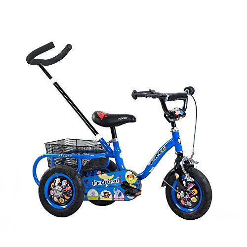 Tauki 10 Inch Kids Tricycle with Adjustable Removable Push H