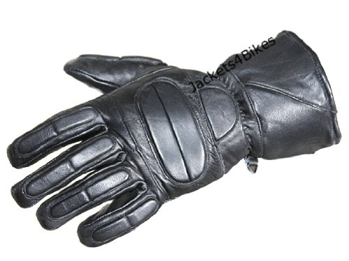 (New Motorcycle Biker Premium Leather Thermal Full Gloves Black XL)