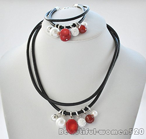 Z6951 2Strds red coral agate white shell-pearl pearls pendant leather (White Pearl Red Coral Necklace)