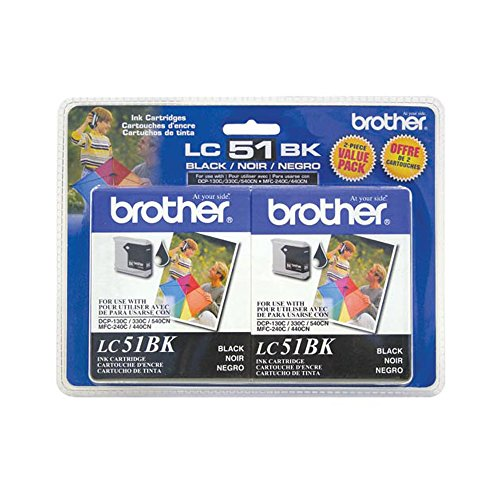 Brother LC51-2PKS Black Ink Cartridge Twin Pack Standard Yield (2x 500 Yield) ()