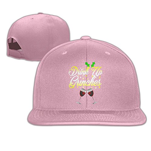 Yishuo Men Drink Up Grinches Funny Christmas Holiday Shirt Classic Golf Pink Hats Adjustable Snapback