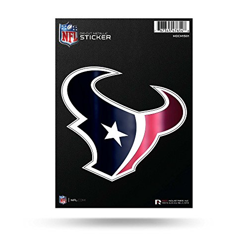 Rico Industries NFL Houston Texans Die Cut Metallic StickerDie Cut Metallic Sticker, Blue, 5.75 x 7.75-inches