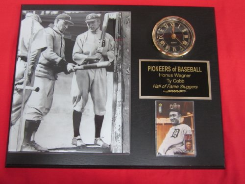 Honus Wagner Ty Cobb Collectors Clock Plaque w/8x10 RARE Photo and Card