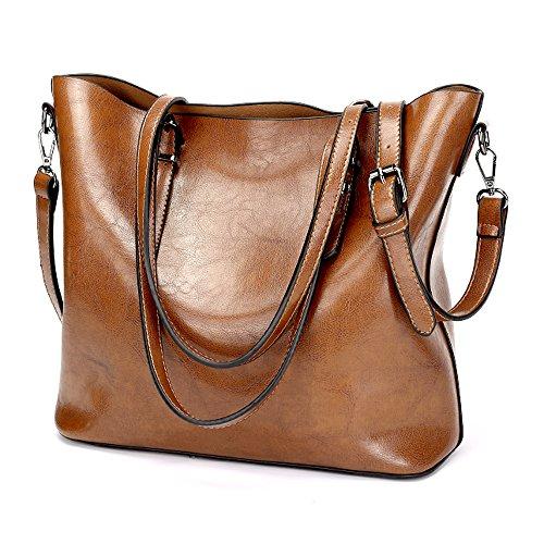Large Brown Womens Handbag (OMIU Women Handbags PU Leather Shoulder Bags Messenger Purses Tote Bags Handbags for Women 001)