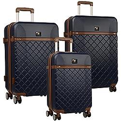 Anne Klein Greenwich Three Piece Hardside Luggage Set, Blue Depth, One Size