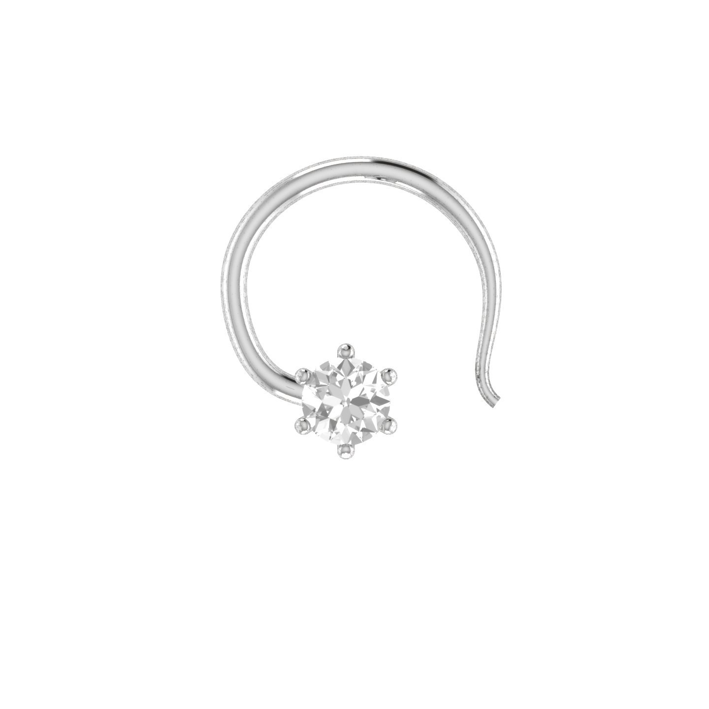 Silvernshine Jewels 3.00mm D/VVS1 Diamond Sterling Silver Solitaire Wedding Nose Piercing Stud Pin NP50-WG-W
