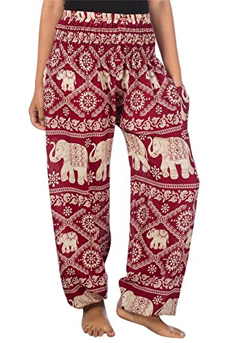 1 Smocked Funky Elephant Harem Pants Borgogna Donna Boho Waist Lofbaz 7H8vPv
