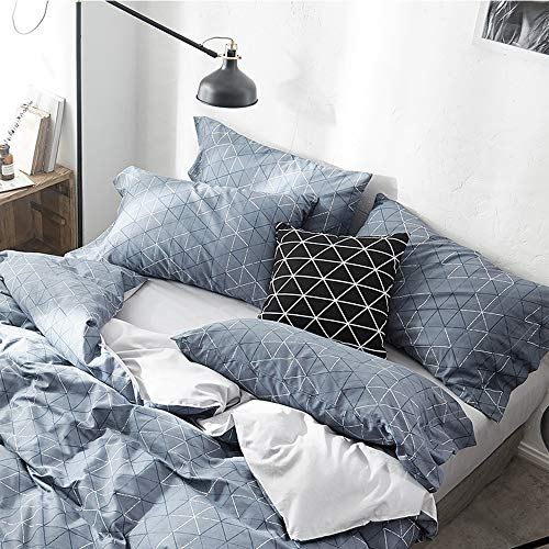 (HIGHBUY Soft Cotton Geometric Pillowcases Set of 2 Standard Queen Blue Bedding Pillow Covers with Envelop Closure,2 Pieces 20Inches by 26IncheKids Adult Full Grids Pillow Covers Decorative,Comfortable)