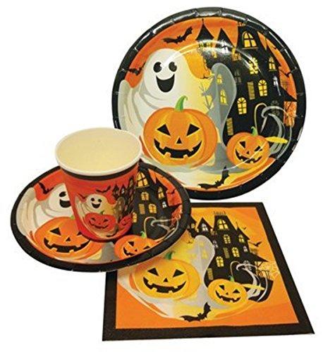 Halloween Disposable Party Supply 44-Piece Pack   Halloween Theme Luncheon Plates, Dessert Plates, Cups-Glasses & (Halloween Graveyard Theme Ideas)