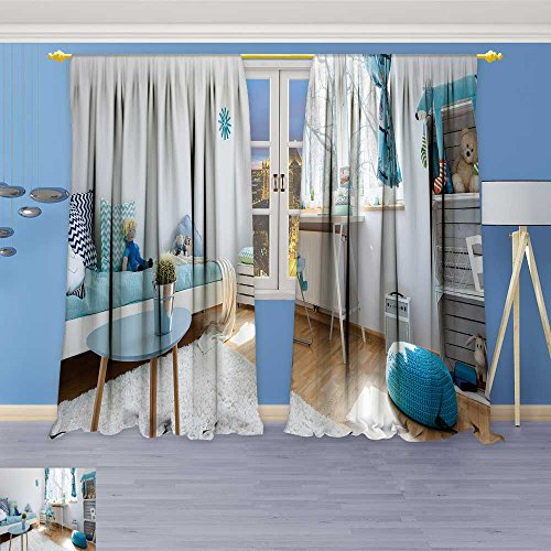 SOCOMIMI Room Darkening Blackout Print Curtains –Child Room in Blue and White with SLE Bed Desk Chair smtable and DIY Regale for Bedroom Living Room, 84W x 72L inch