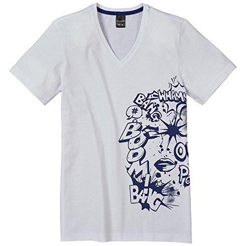Schiesser Jungen Schlafanzugoberteil V-Shirt 1/2, Gr. 140, Weiß (weiss 100)