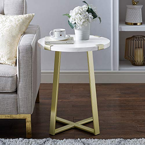 WE Furniture AZF18MWSTMG Side Table White Faux