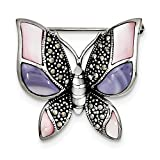 Sterling Silver Marcasite Mother of Pearl Butterfly Pin (1.22 in x 1.22 in)