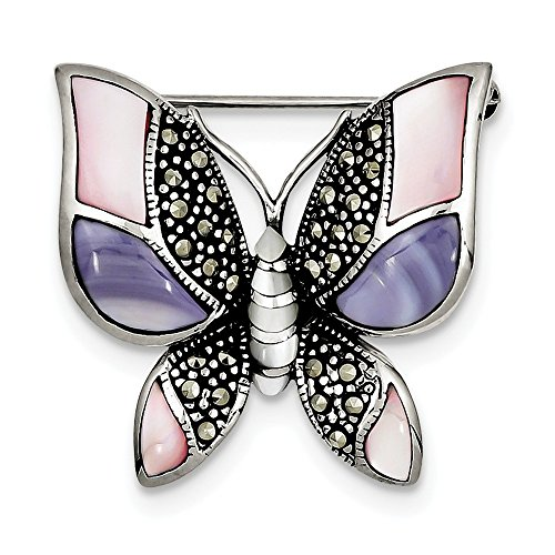 Sterling Silver Polished Antique finish Marcasite Simulated Mother of Pearl Butterfly Pin