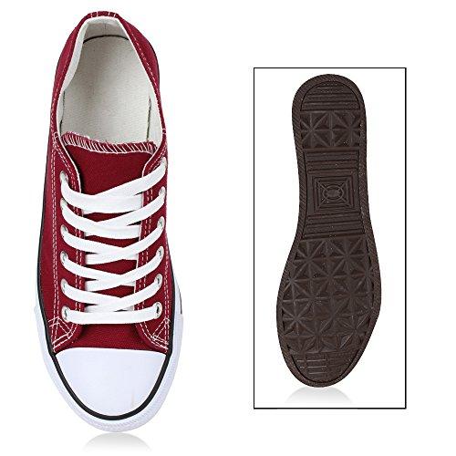 Damen Sneakers Freizeit Sneaker Low Neon Stoffschuhe Schnürer Animal Print Schuhe Turnschuhe Sportschuhe Flandell Dunkelrot