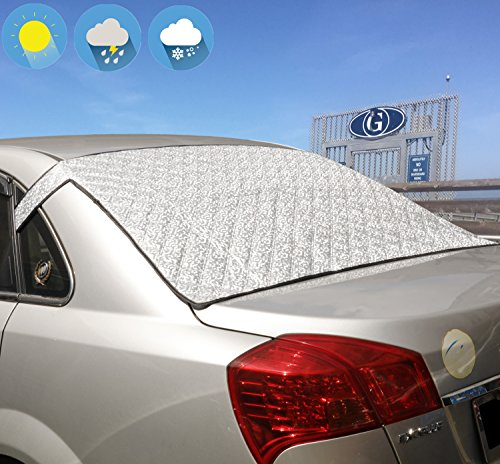 Jackey Awesome Windshield Snow Cover Car Windshield Snow & Sun Shade Protector Exterior Shield Guard Fits Most Weather Winter Summer Auto Sunshade Cover (Silver, for Vehicle Rear ()