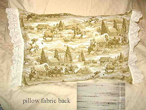 WESTERN SCENE Cowboys Horses Tan Toile 100% Cotton Fabric Throw Pillow w/Trim