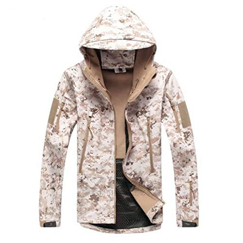 Men Jacket Coat Jacket Winter Waterproof Soft Shell Jackets Hunt Clothes,Desert,M,China
