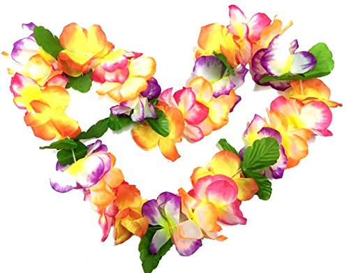 BOSHENG Hawaiian Colorful Flower Leis Necklaces for Summer Party Event,set of (Plumeria Flower Lei)