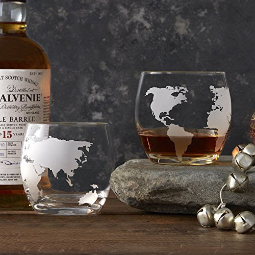 Etched Globe Whiskey Glasses 12 oz -Set of 2 (Etched)