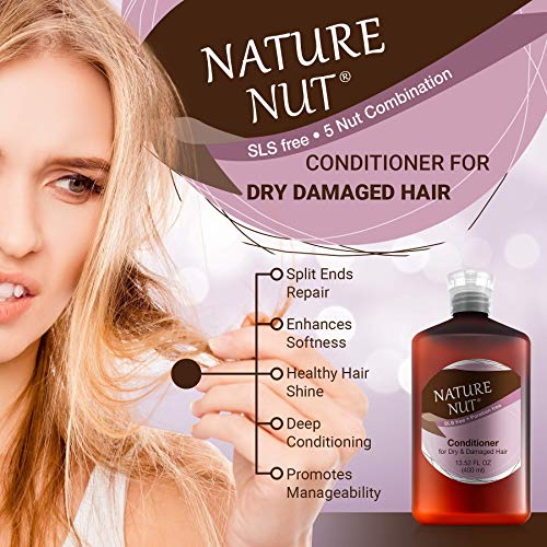 Nature Nut Dry & Damaged Hair Repair Shampoo + Hair Conditioner. Hypoallergenic 5 Nut Natural Blend Moisturizer Hydration Boost Formula