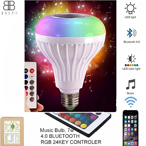LED Music Bulbs with Integrated Bluetooth Speaker Audio 24-Key Control RGB Changing E27 Perfect for Baby Room Decor Music Play Soothing